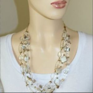 Clear Gem and Shell Beaded Necklace